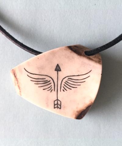 Arrow Angel pendant - antler