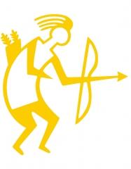 Archery Sticker TB yellow outline